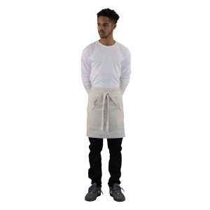 Linen Apron Natural Color Short Server