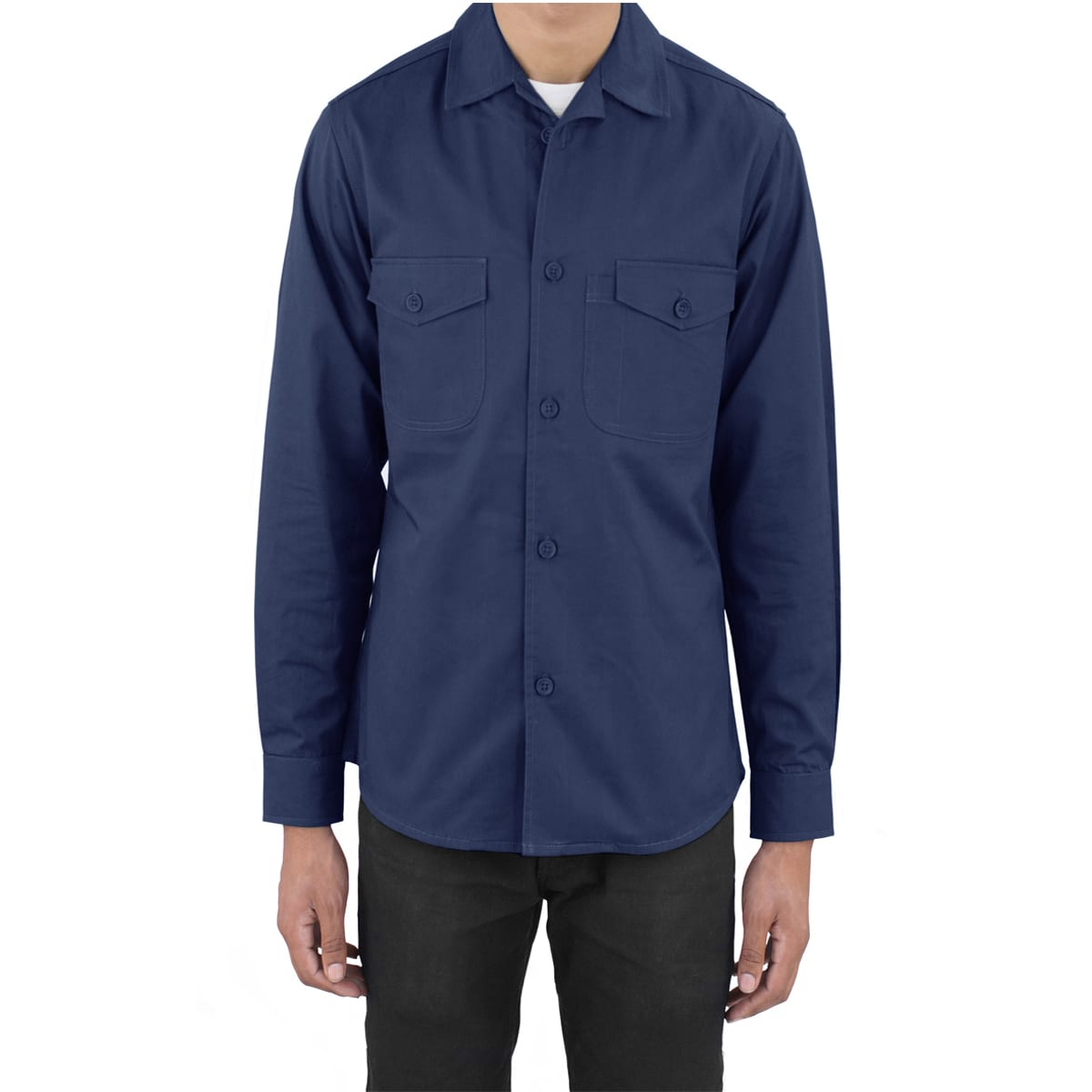Royal Blue Work Shirt Fine Line Cotton Twill Art Style