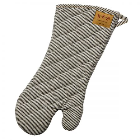 Denim Oven Mitt Railroad Stripe