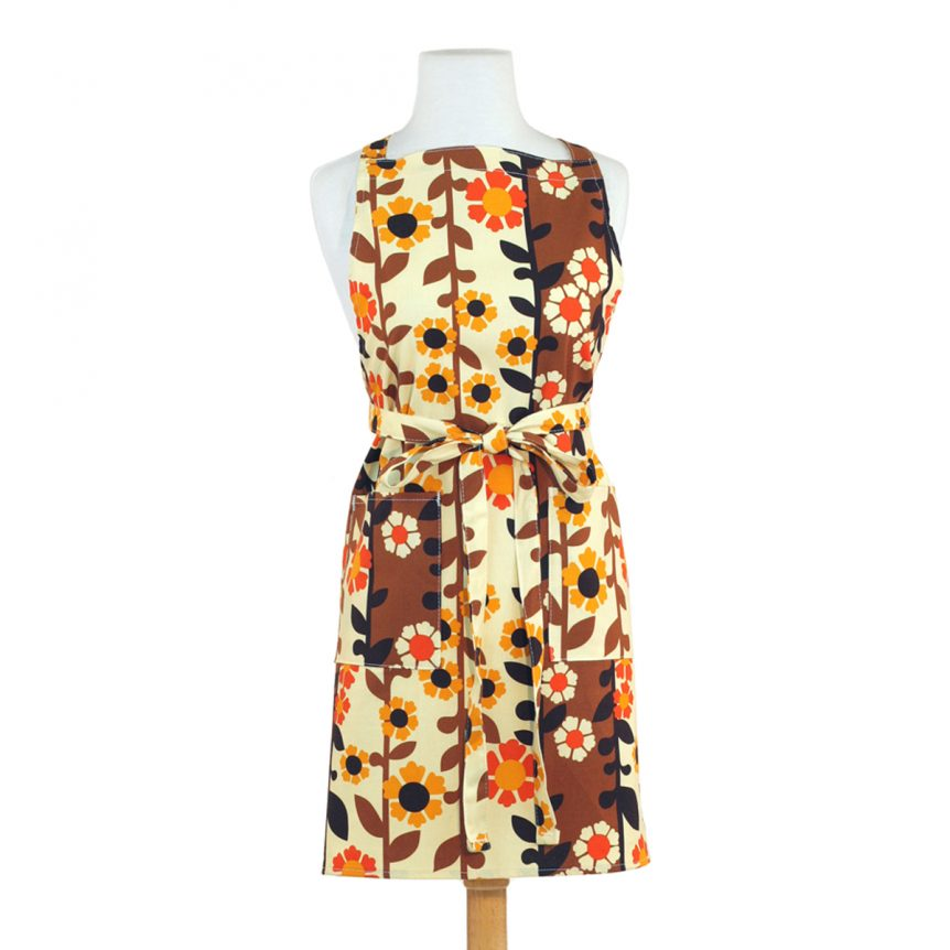 Floral Apron Brown Yellow