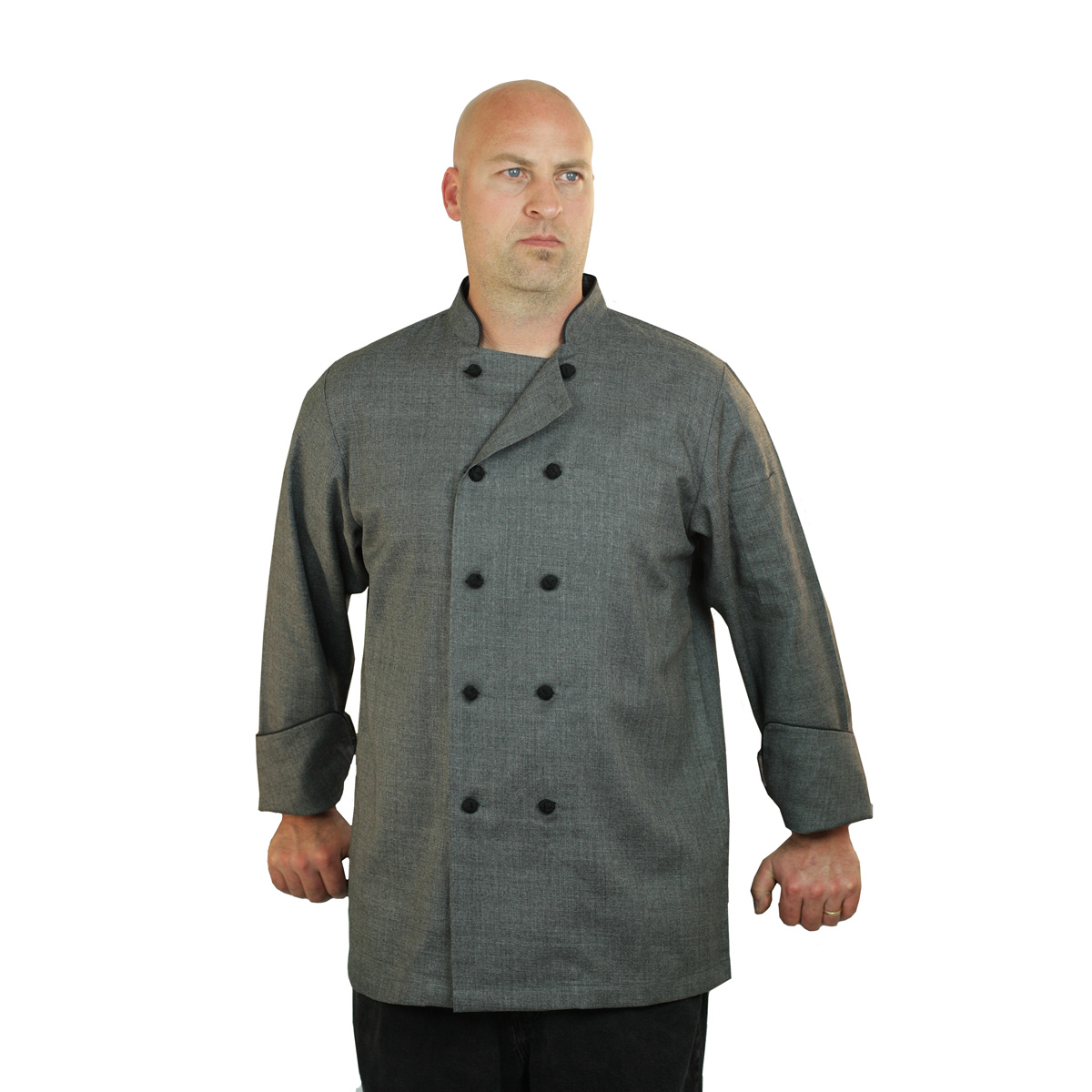 Heather Grey Chef Coat Long Sleeve Unisex Art Style