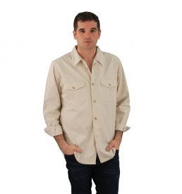 Server Shirt Khaki Railroad Stripe Long Sleeve