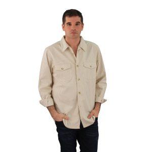 Server Shirt Khaki Railroad Stripe Long Sleeve