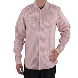 Server Shirt Red Railroad Stripe Long Sleeve