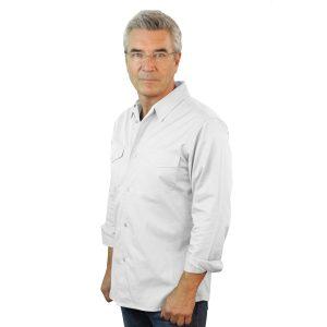 White Work Shirt Fine Line Cotton Twill