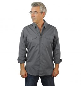 Grey Work Shirt Fine Line Cotton Twill