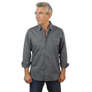 Grey Work Shirt Fine Line Cotton Twill
