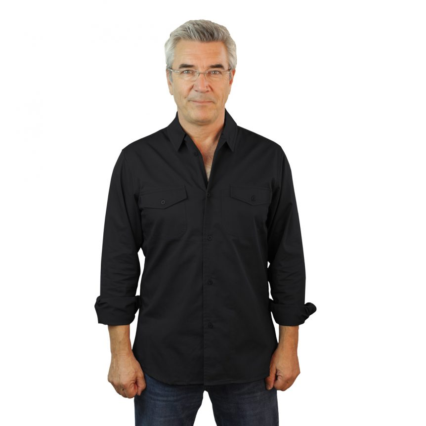 Black Work Shirt Fine Line Cotton Twill