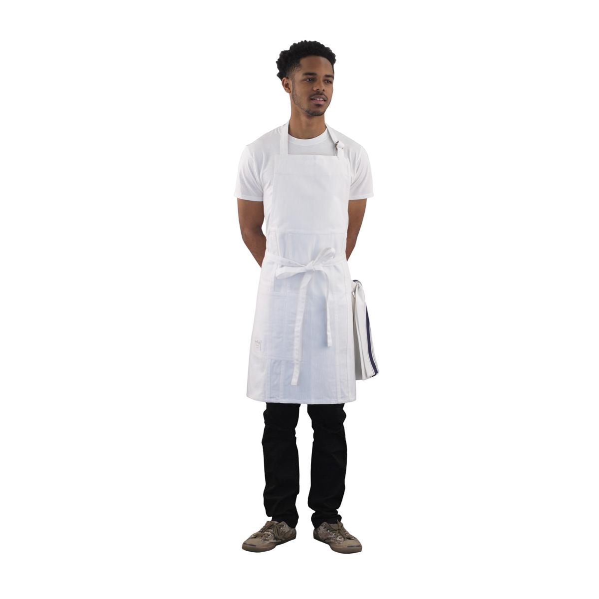 White denim apron - White Denim Apron