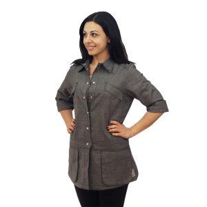 Heather Grey Chef Coat Long Sleeve