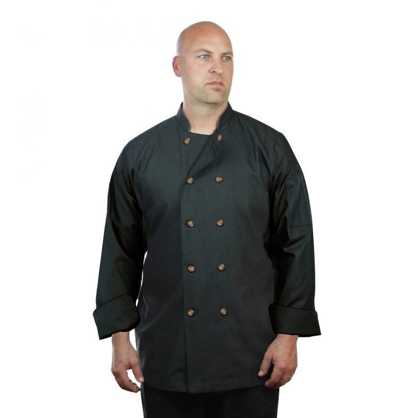 Black Chef Coat Denim Long Sleeve Unisex
